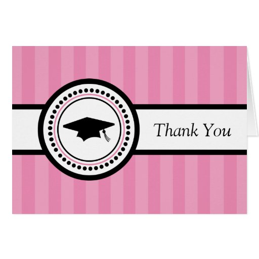Stripes Graduation Cap Thank You Card (Pink)