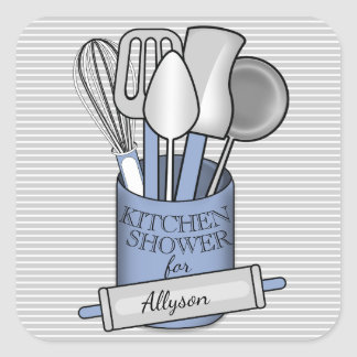 Stripes Gray White Blue Stock the Kitchen Shower Square Sticker