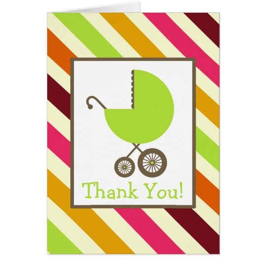 Stripes & Green Carriage Baby Shower Thank You Card