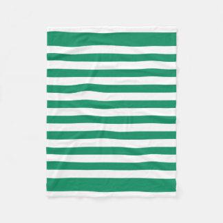 Stripes   Green & White   Customizable   Fleece Blanket