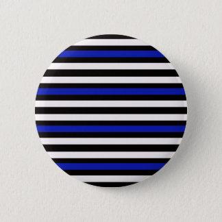 Stripes Horizontal Blue Black White 2 Inch Round Button