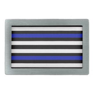 Stripes Horizontal Blue Black White Belt Buckle