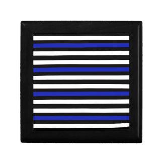 Stripes Horizontal Blue Black White Gift Box