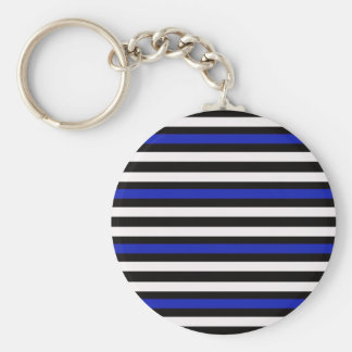 Stripes Horizontal Blue Black White Keychain