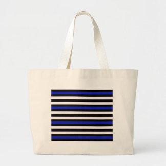 Stripes Horizontal Blue Black White Large Tote Bag