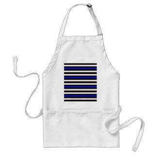 Stripes Horizontal Blue Black White Standard Apron