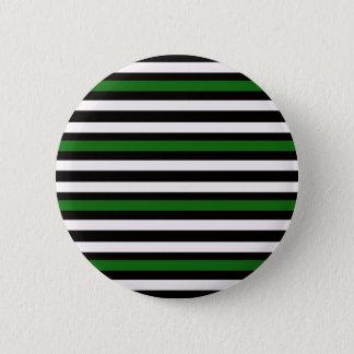 Stripes Horizontal Green Black White 2 Inch Round Button