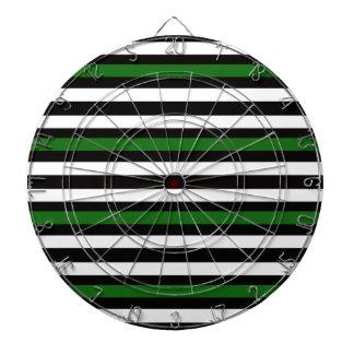 Stripes Horizontal Green Black White Dartboard