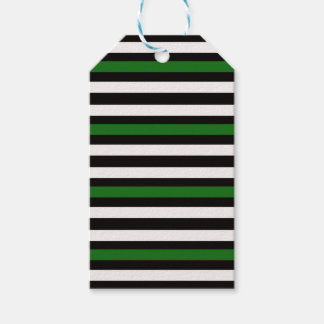Stripes Horizontal Green Black White Gift Tags