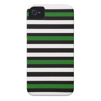 Stripes Horizontal Green Black White iPhone 4 Case-Mate Case