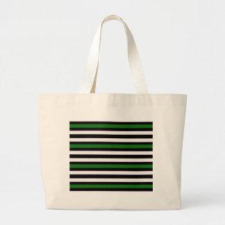 Stripes Horizontal Green Black White Large Tote Bag