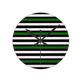 Stripes Horizontal Green Black White Round Clock