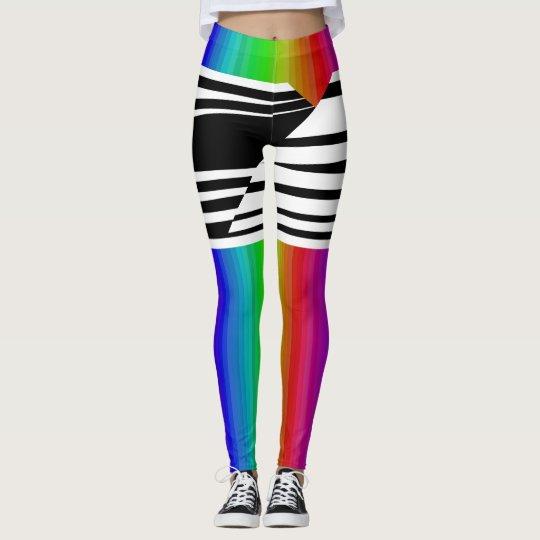 Stripes Horizontal Hold TV Rainbow Broadcast Bars Leggings