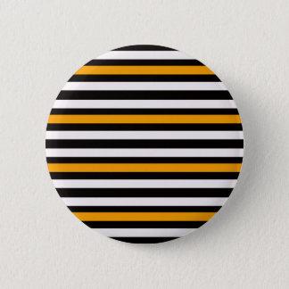 Stripes Horizontal Orange Black White 2 Inch Round Button
