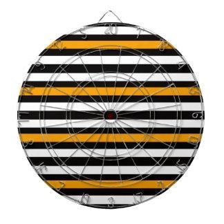 Stripes Horizontal Orange Black White Dartboard