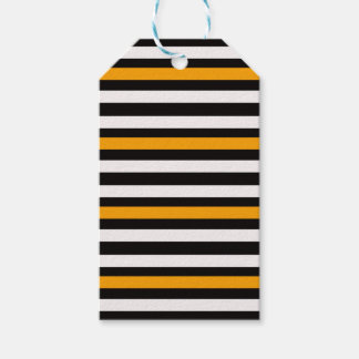 Stripes Horizontal Orange Black White Gift Tags