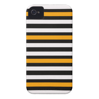 Stripes Horizontal Orange Black White iPhone 4 Case