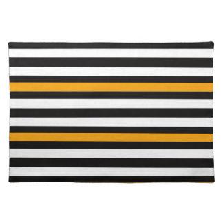 Stripes Horizontal Orange Black White Placemat