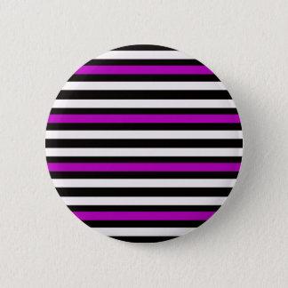 Stripes Horizontal Purple Black White 2 Inch Round Button
