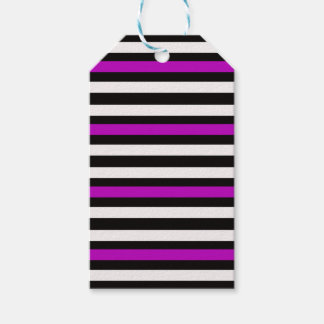 Stripes Horizontal Purple Black White Gift Tags