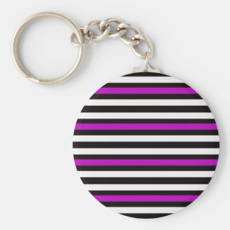 Stripes Horizontal Purple Black White Keychain