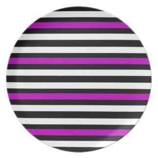 Stripes Horizontal Purple Black White Plate