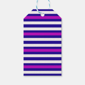 Stripes Horizontal Purple Blue White Gift Tags