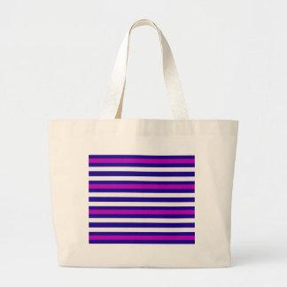 Stripes Horizontal Purple Blue White Large Tote Bag