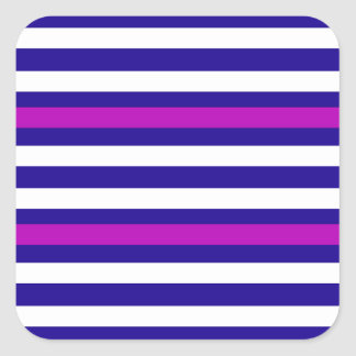 Stripes Horizontal Purple Blue White Square Sticker