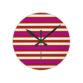 Stripes Horizontal Purple Red White Round Clock
