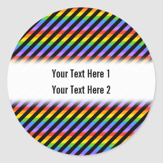 Stripes in Black and Rainbow Colors. Round Sticker