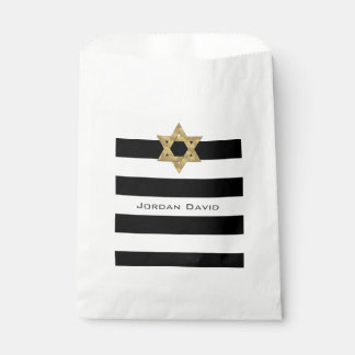 Stripes in black and white with gold Star of David Favour Bag