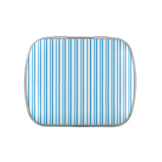 Stripes in blue and white candy tin