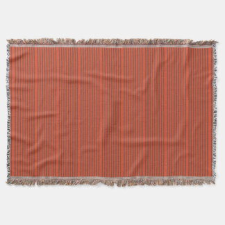 Stripes in natural colors brown and red throw blanket