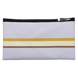 Stripes in natural colors on lilac makeup bag