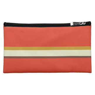 Stripes in ochre green brown on red cosmetics bags