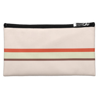 Stripes in red green brown on pink cosmetic bags