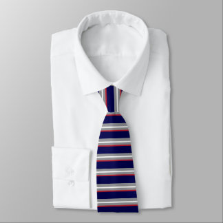 Stripes in White, Red, Gray and Navy Blue Tie