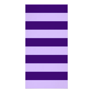 Stripes - Light Violet and Dark Violet Custom Photo Card