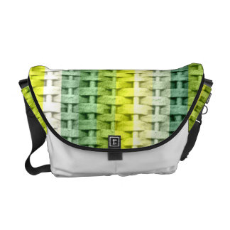 Stripes lime green  wicker art graphic design commuter bag