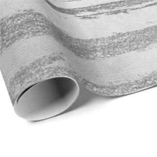 Stripes Lines Strokes Painting Monochromatic Gray Wrapping Paper