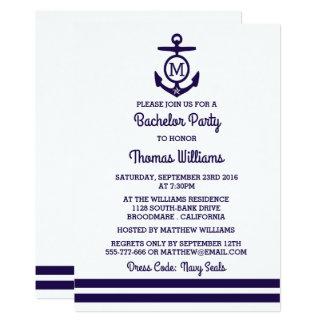 Stripes & Monogram Anchor Nautical Bachelor Party Card