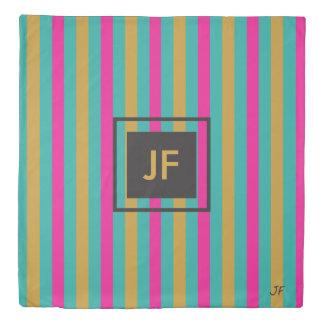 Stripes Monogram Duvet Cover