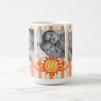 Stripes & Monogram Flourish-Orange Coffee Mug