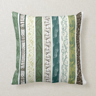 Stripes of Decorative Patterns in Green Throw Pillow