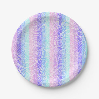 Stripes of pastel harmony paper plate