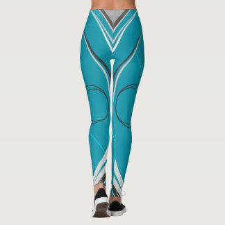 Stripes on Dark on Turquoise #2 Leggings