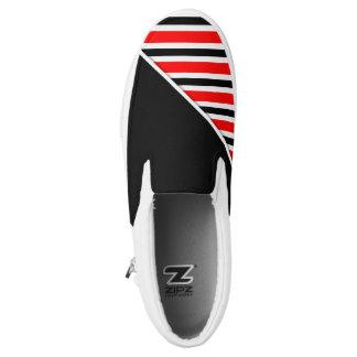 Stripes pattern black red + your backgr. & ideas Slip-On sneakers