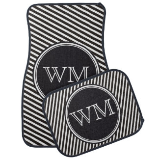 Stripes Pattern black & white + your monogram Floor Mat