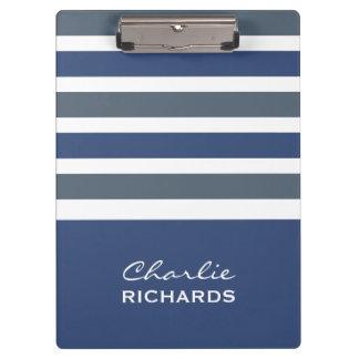 Stripes Pattern custom monogram clipboard